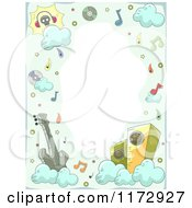 Cartoon Of A Music And Cloud Frame With Copyspace Royalty Free Vector Clipart by BNP Design Studio