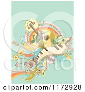 Retro Music Background With Instruments And Transportation Doodles On Green