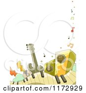 Cartoon Of A Border Of Music Instruments And Copyspace Royalty Free Vector Clipart by BNP Design Studio