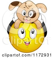 Cartoon Of A Happy Emoticon Smiley With A Dog On Its Head Royalty Free Vector Clipart