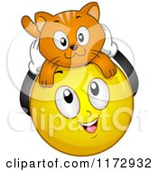 Cartoon Of A Happy Emoticon Smiley With A Cat On Its Head Royalty Free Vector Clipart