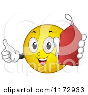 Cartoon Of A Happy Emoticon Smiley Holding A Red Sales Tag Royalty Free Vector Clipart by BNP Design Studio