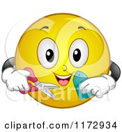 Cartoon Of A Happy Emoticon Smiley Holding A Sales Tag And Scissors Royalty Free Vector Clipart