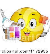 Cartoon Of A Happy Emoticon Smiley Cutting Out Coupons Royalty Free Vector Clipart