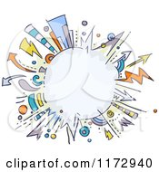 Cartoon Of A Burst Explosion Frame With Arrows Royalty Free Vector Clipart