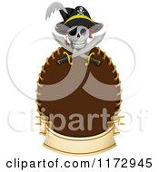 Cartoon Of A Pirate Skull And Crossed Swords Over A Frame With A Banner Royalty Free Vector Clipart