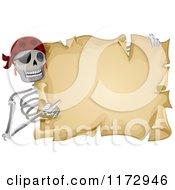 Cartoon Of A Skeleton Pirate Holding And Pointing To An Aged Parchment Scroll Royalty Free Vector Clipart