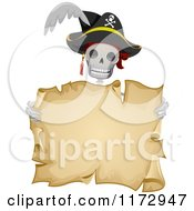 Cartoon Of A Skeleton Pirate Holding An Aged Parchment Scroll Royalty Free Vector Clipart by BNP Design Studio