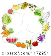 Cartoon Of A Round Frame Of Fruit Vegetables And Grains Royalty Free Vector Clipart
