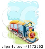 Cartoon Of A Train With A Steam Cloud Royalty Free Vector Clipart