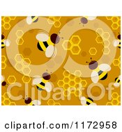 Cartoon Of A Seamless Bee And Honeycomb Pattern Royalty Free Vector Clipart by BNP Design Studio