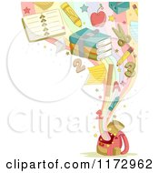 Cartoon Of A Background Of School Items Emerging From A Backpack With Copyspace Royalty Free Vector Clipart by BNP Design Studio
