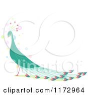 Cartoon Of A Beautiful Green Peacock With Copyspace Royalty Free Vector Clipart by BNP Design Studio