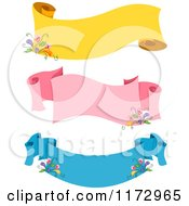 Cartoon Of Yellow Pink And Blue Floral Ribbon Banners Royalty Free Vector Clipart