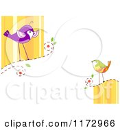 Cartoon Of Talking Birds With Copyspace Royalty Free Vector Clipart by BNP Design Studio