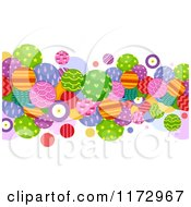 Cartoon Of An Abstract Border Of Colorfully Patterned Circles Royalty Free Vector Clipart