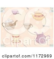 Cartoon Of A Seamless Tea Pot Cup And Spoon Pattern Royalty Free Vector Clipart by BNP Design Studio