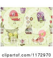 Cartoon Of A Seamless Bird Flower And Owl Pattern On Green Royalty Free Vector Clipart by BNP Design Studio
