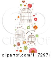 Cartoon Of Empty Bird Cages And Dots Royalty Free Vector Clipart