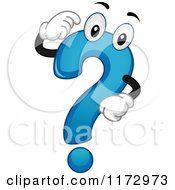 Cartoon Of A Thinking Blue Question Mark Mascot Royalty Free Vector Clipart by BNP Design Studio