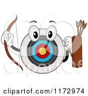 Cartoon Of An Archery Bullseye Mascot With A Bow And Arrows Royalty Free Vector Clipart by BNP Design Studio