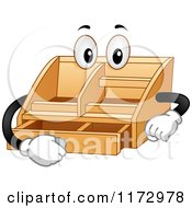 Cartoon Of A Desktop Valet Mascot Opening A Drawer Royalty Free Vector Clipart by BNP Design Studio