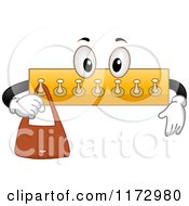 Cartoon Of A Hook Rack Mascot Hanging A Purse Royalty Free Vector Clipart by BNP Design Studio