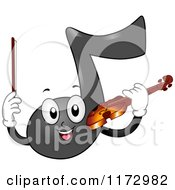 Cartoon Of A Music Note Mascot Playing A Violin Royalty Free Vector Clipart