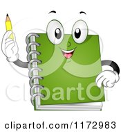 Cartoon Of A Green Notebook Mascot Holding A Pencil Royalty Free Vector Clipart by BNP Design Studio
