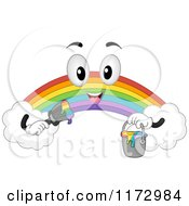 Cartoon Of A Rainbow Mascot Holding A Paint Bucket And Brush Royalty Free Vector Clipart