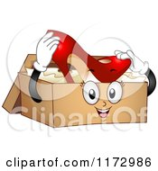 Cartoon Of A Shoe Box Mascot Holding A High Heel Royalty Free Vector Clipart by BNP Design Studio