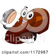 Cartoon Of A Shoe Mascot Holding Shining Polish And A Brush Royalty Free Vector Clipart