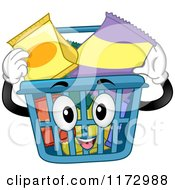 Cartoon Of A Shopping Basket Mascot Inserting Snacks Royalty Free Vector Clipart