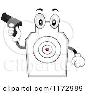 Cartoon Of A Target Shooting Mascot Holding A Gun Royalty Free Vector Clipart