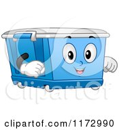 Cartoon Of A Blue Wheeled Bin Mascot Royalty Free Vector Clipart by BNP Design Studio