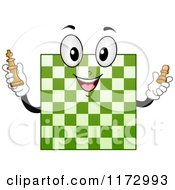 Cartoon Of A Green Chess Board Mascot Royalty Free Vector Clipart by BNP Design Studio