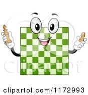 Cartoon Of A Green Chess Board Mascot Royalty Free Vector Clipart