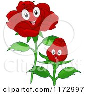 Cartoon Of Happy Red Rose Mascots Royalty Free Vector Clipart by BNP Design Studio