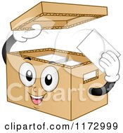 Cartoon Of A Cardboard Bankers Box Mascot Royalty Free Vector Clipart by BNP Design Studio