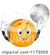 Cartoon Of A DVD Organizer Mascot Holding Up A Disk Royalty Free Vector Clipart by BNP Design Studio