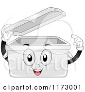 Cartoon Of A Plastic Storage Bin Mascot Lifting Its Lid Royalty Free Vector Clipart by BNP Design Studio