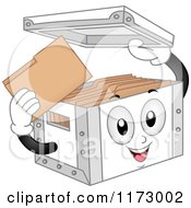 Cartoon Of A Storage Box Mascot Holding Its Lid Royalty Free Vector Clipart by BNP Design Studio