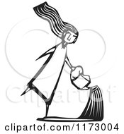 Girl Using A Watering Can Black And White Woodcut