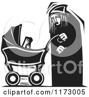 Clipart Of An Old Woman With A Baby Carriage Black And White Woodcut Royalty Free Vector Illustration