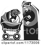 Clipart Of An Old Man And A Baby In A Carriage Black And White Woodcut Royalty Free Vector Illustration