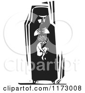 Woman With A Girl Within Her Belly Black And White Woodcut