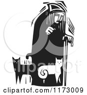 Clipart Of An Old Lady With Cats At Her Feet Black And White Woodcut Royalty Free Vector Illustration