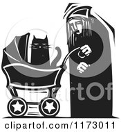 Clipart Of An Old Lady With A Cat In A Baby Carriage Black And White Woodcut Royalty Free Vector Illustration