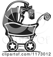 Clipart Of A Baby With A Mobile In A Carriage Black And White Woodcut Royalty Free Vector Illustration