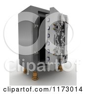Clipart Of A 3d Open Vault Safe Royalty Free CGI Illustration